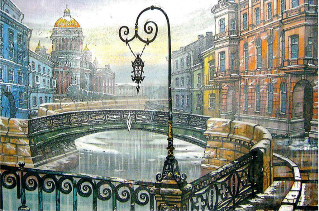 Поэтапно для, рисованные открытки санкт петербург